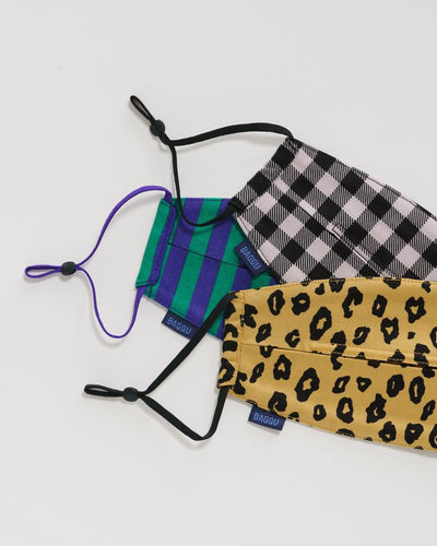 Baggu: Fabric Mask Set Loop - Gingham, Leopard and Stripes - Organic Cotton