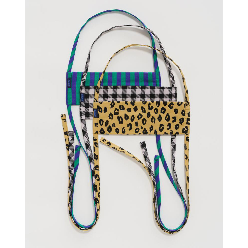 Baggu: Fabric Mask Set Tie - Gingham, Leopard and Stripes - Organic Cotton