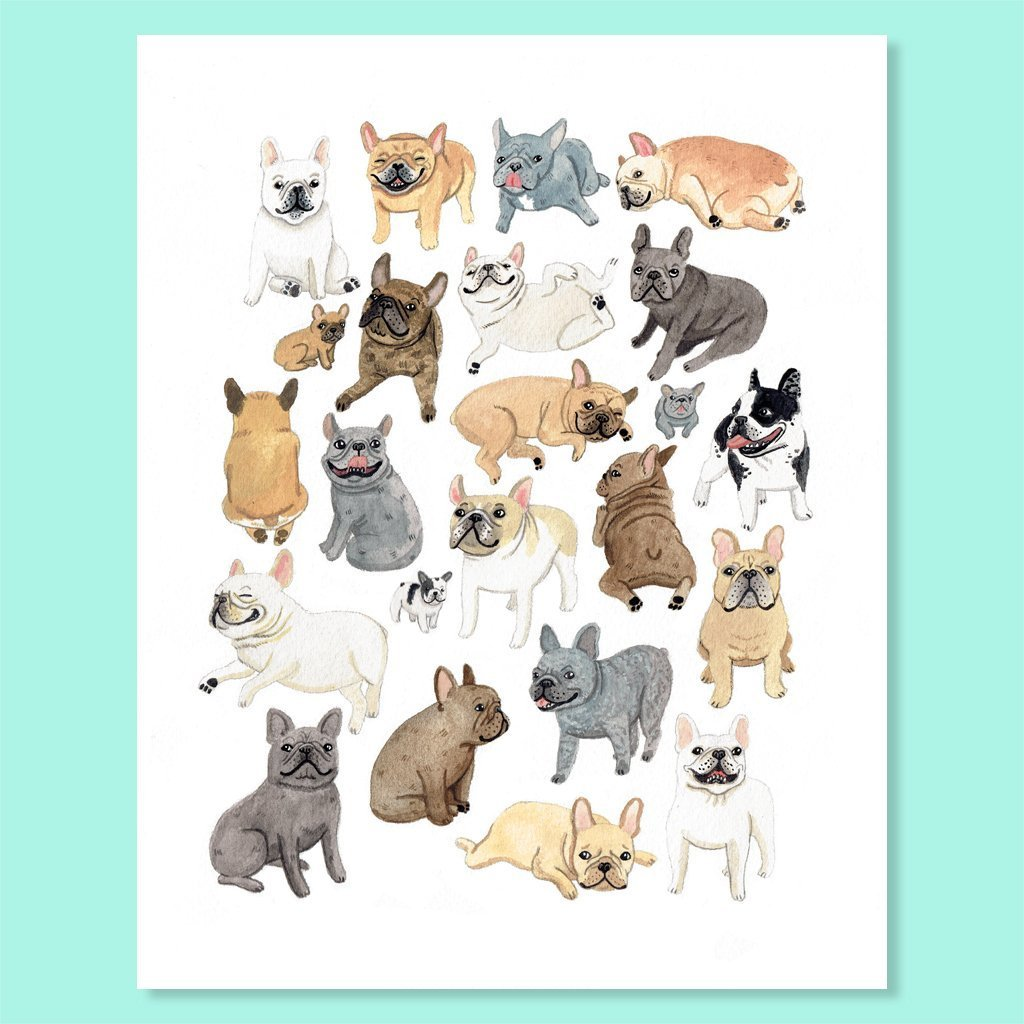 Cactus Club: Frenchie Friends Print, 8x10