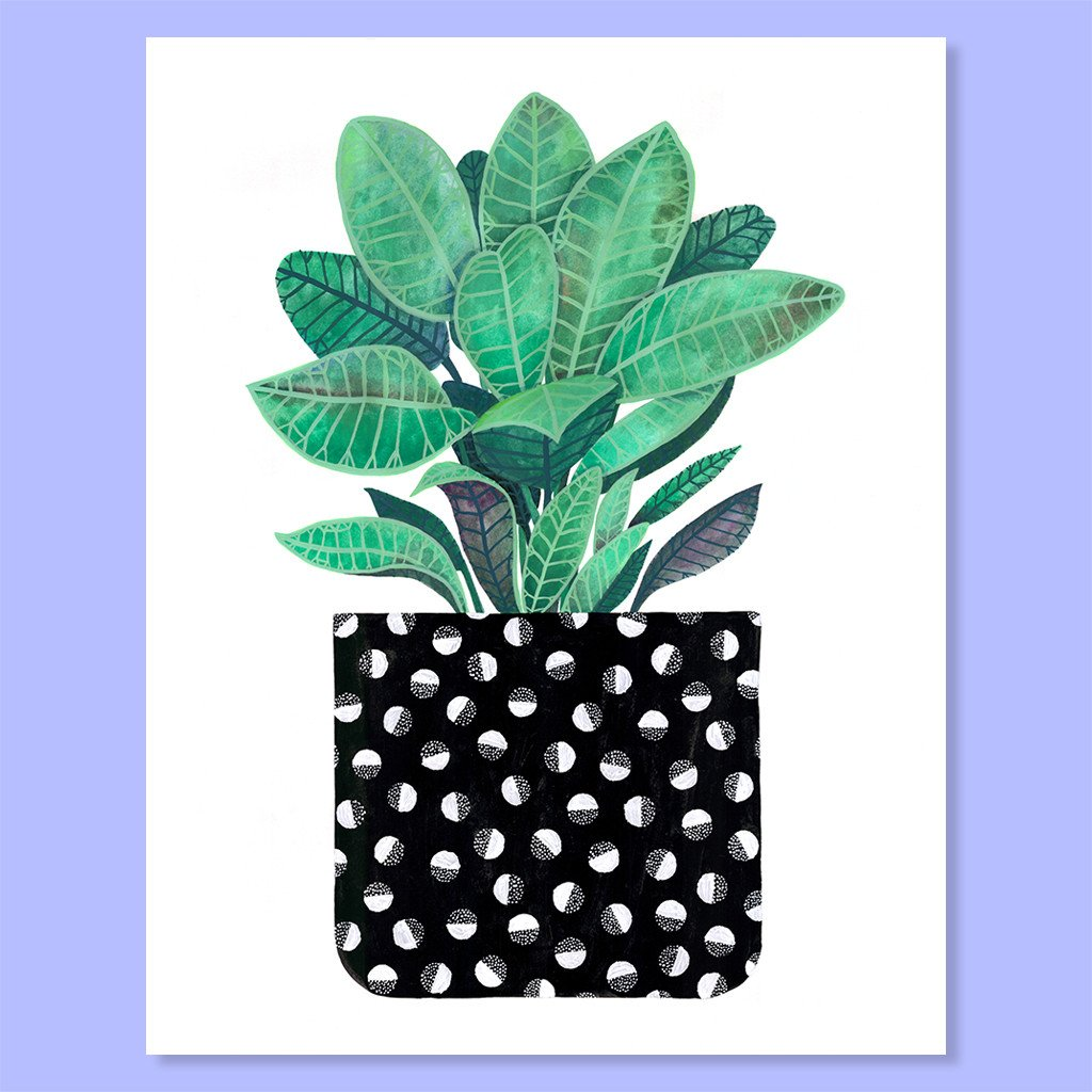 Cactus Club: Half-Moon Houseplant Print, 8x10