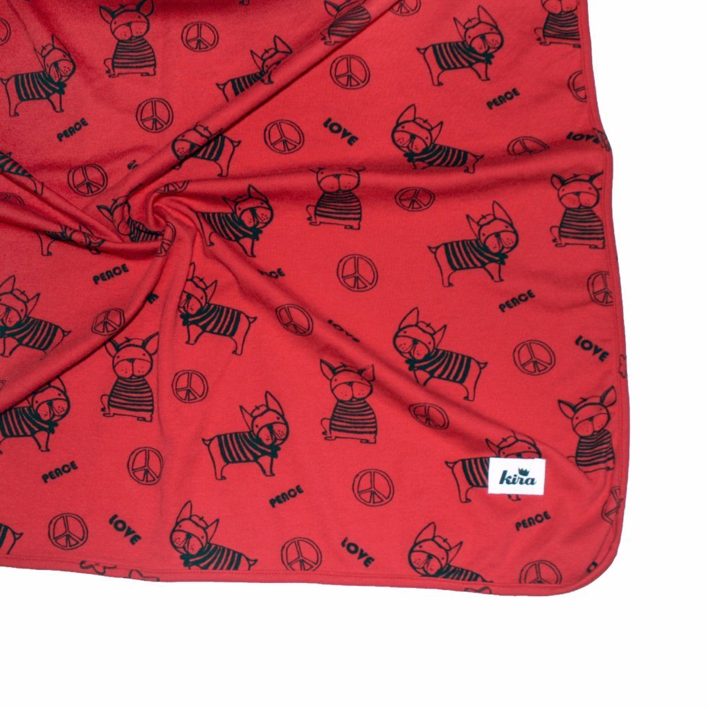Frenchie Print Blanket, Red
