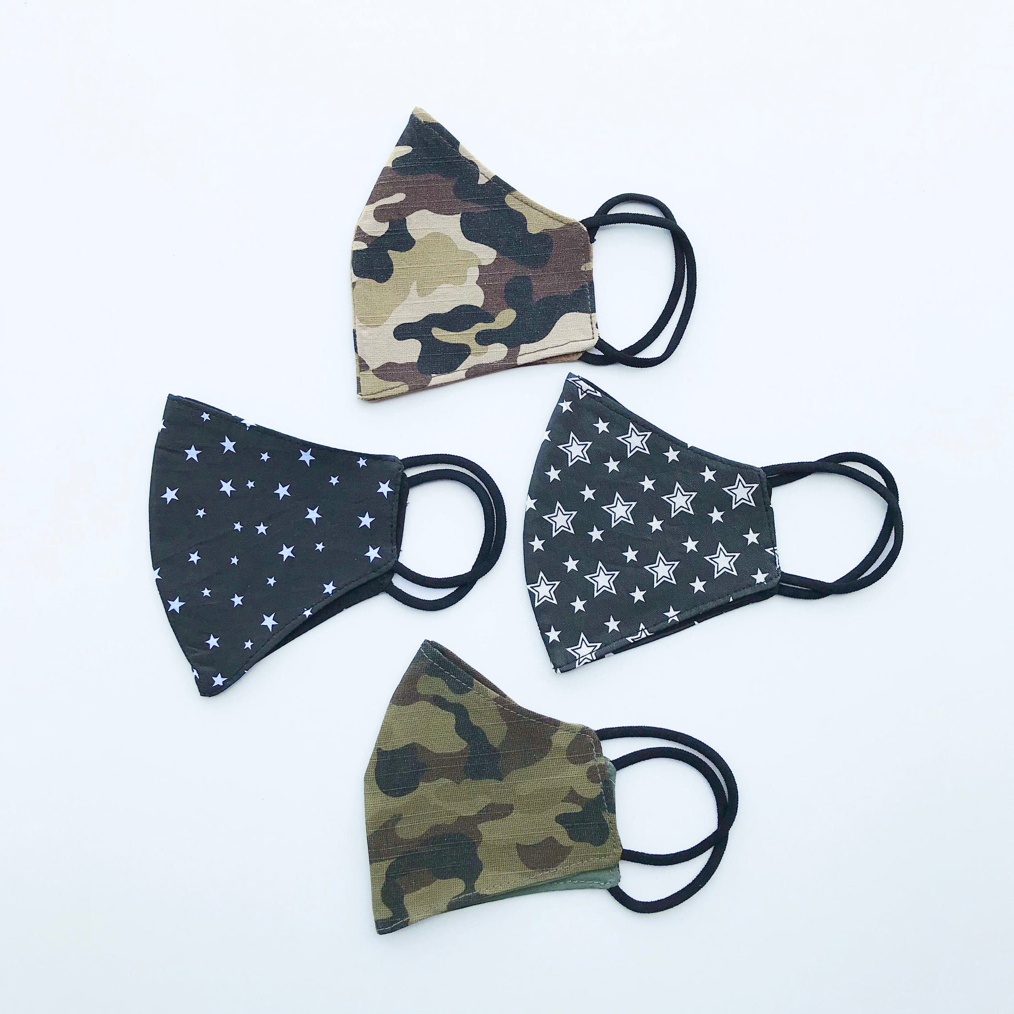 Kid Mask, Camo + Stars, 4 pack