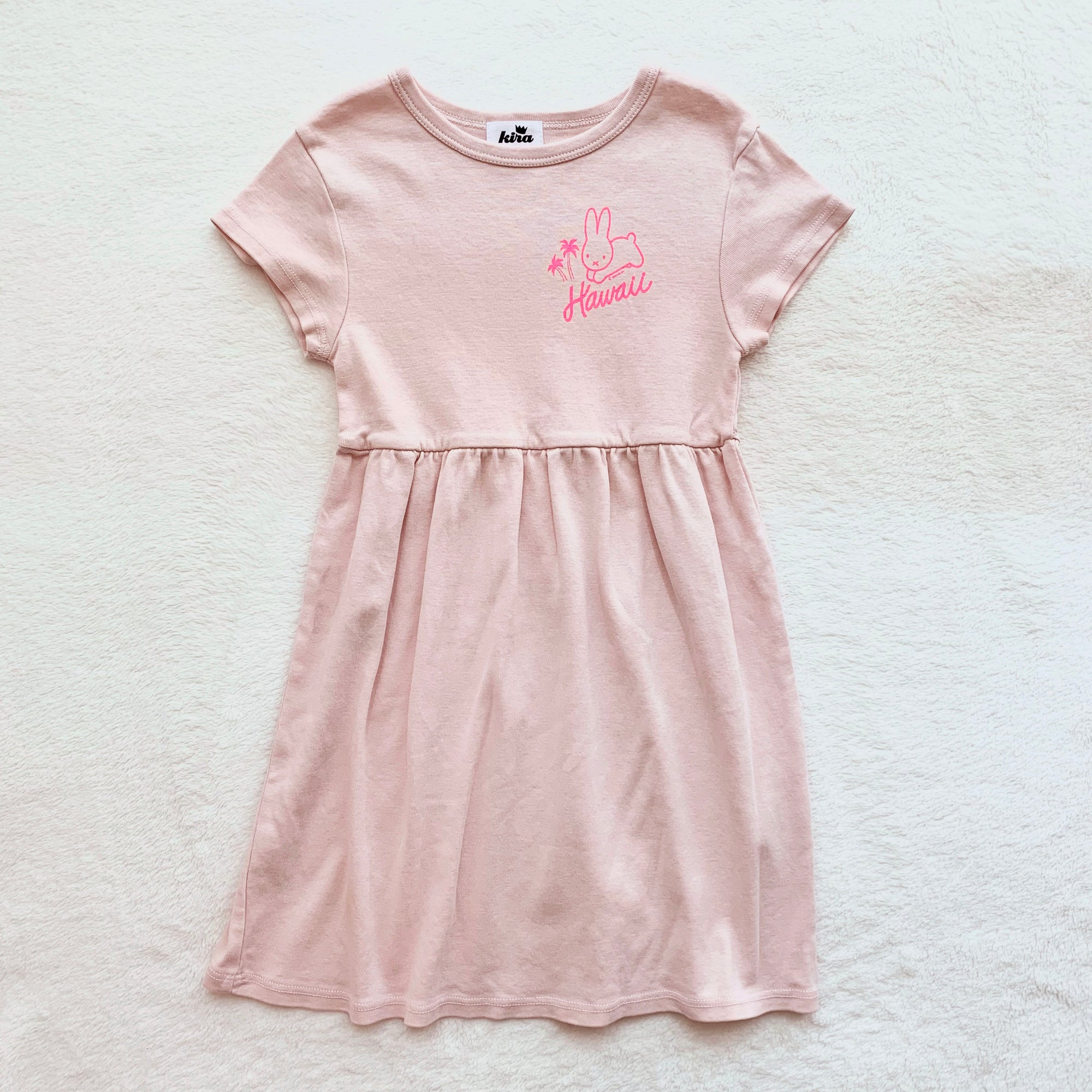 Miffy Palm Trees Baby Doll Dress, Powder Pink