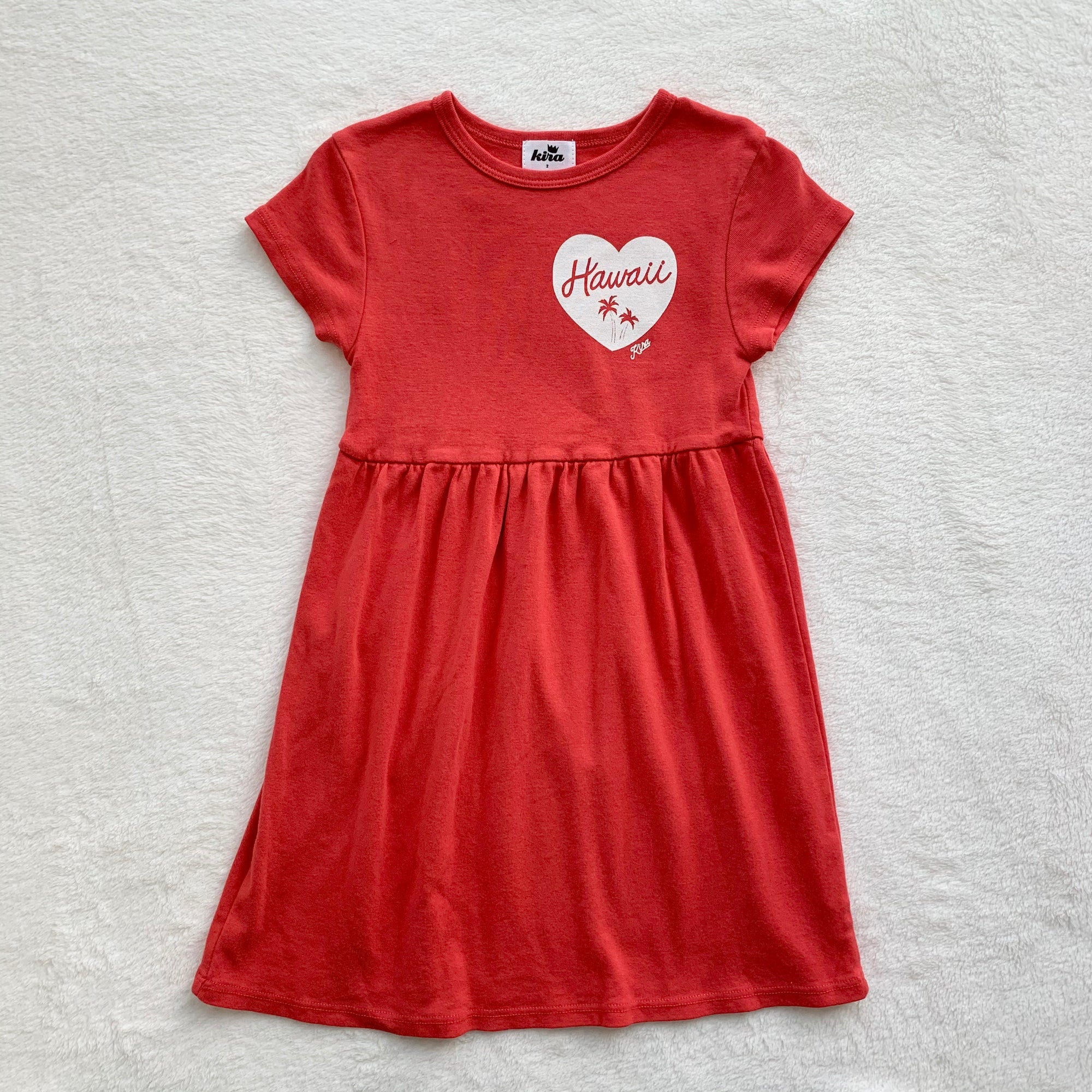 Hawaii Heart Baby Doll Dress, Fluro Coral