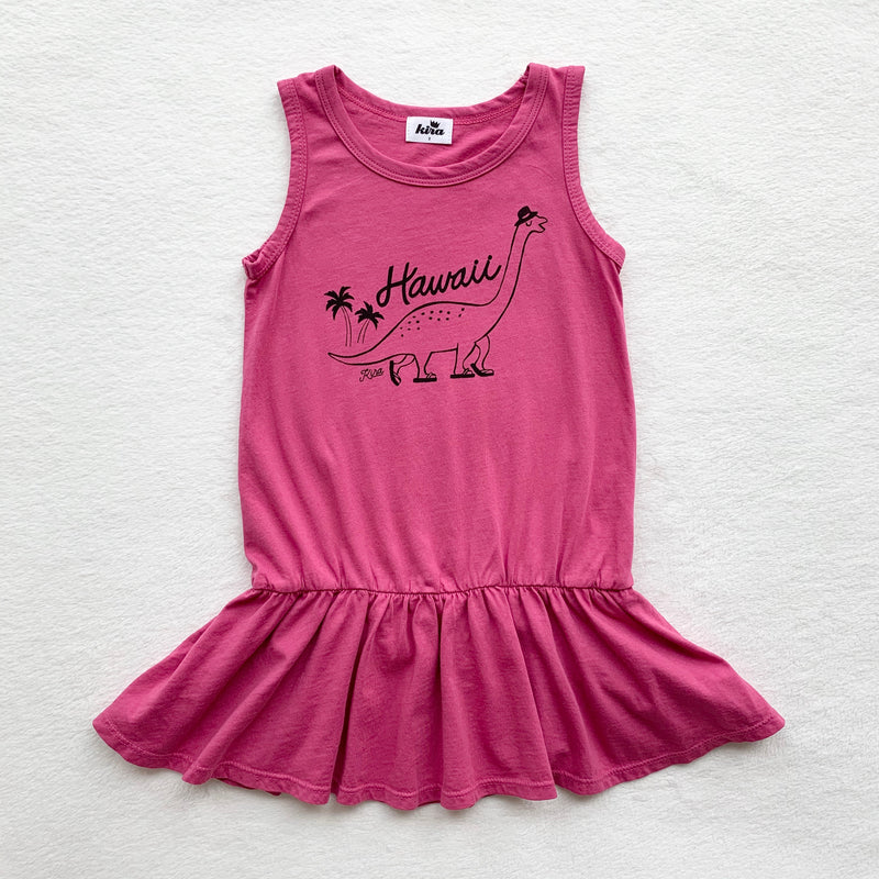 Hawaii Dino Tank Ruffle Dress, Rose Pink