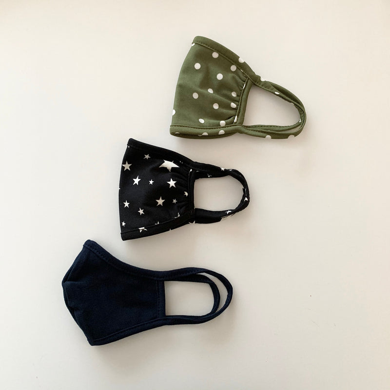 Kids (3-6yrs) Masks, Olive Dots/Stars/Navy, 3 pack