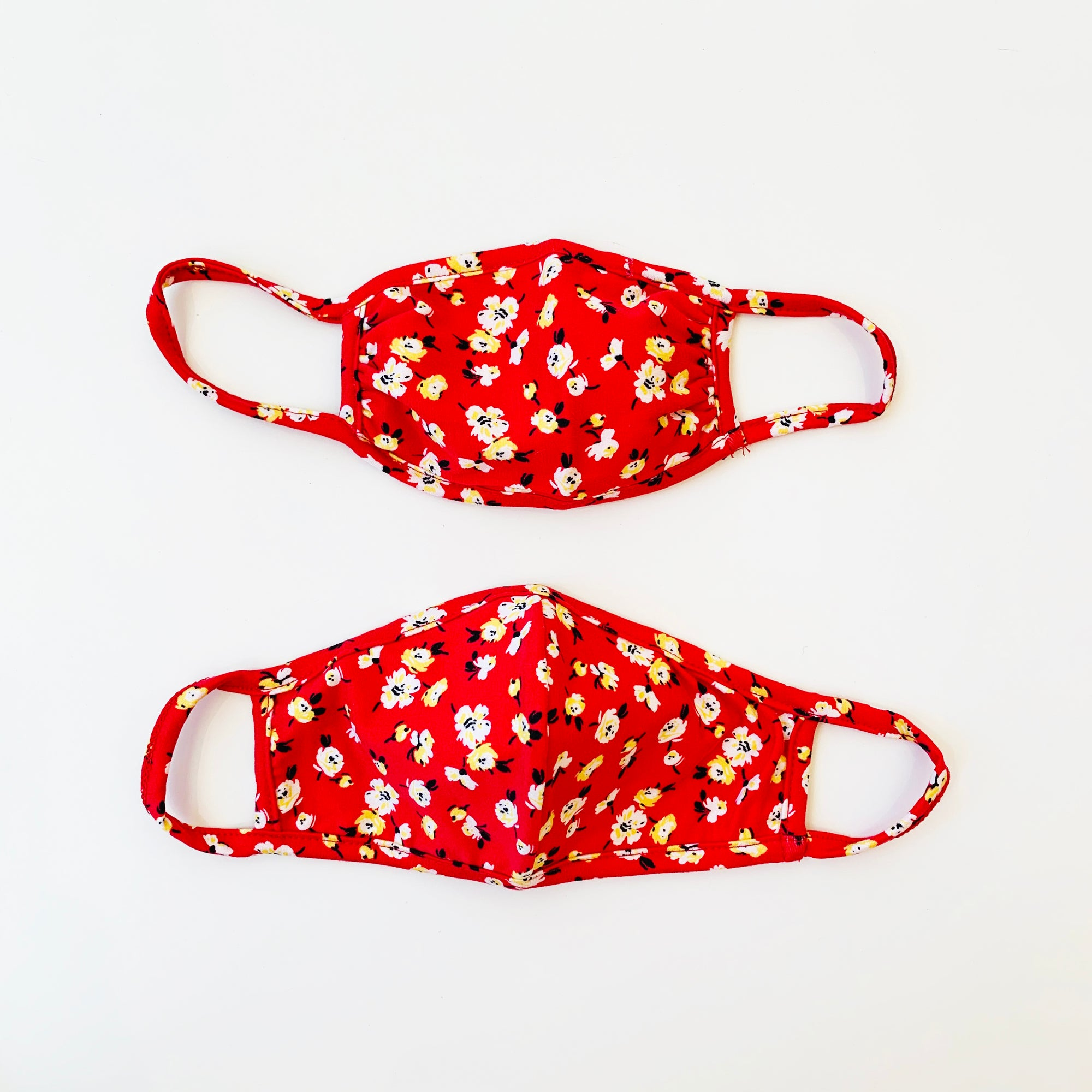 Adult + Kid Mask, Red Floral, 2 pack