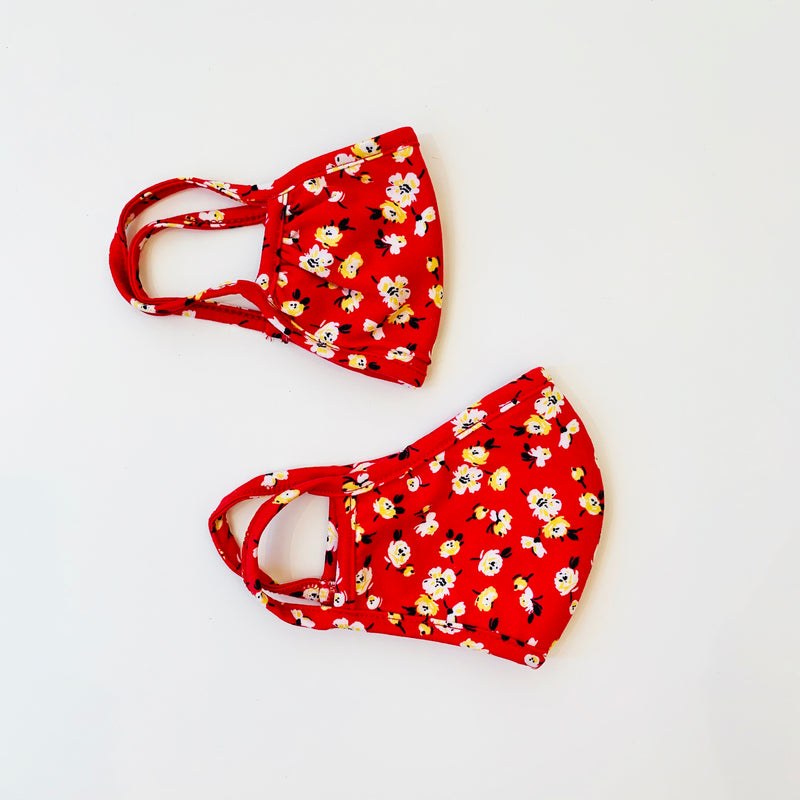 Adult + Kid (3-6yrs) Mask, Red Floral, 2 pack