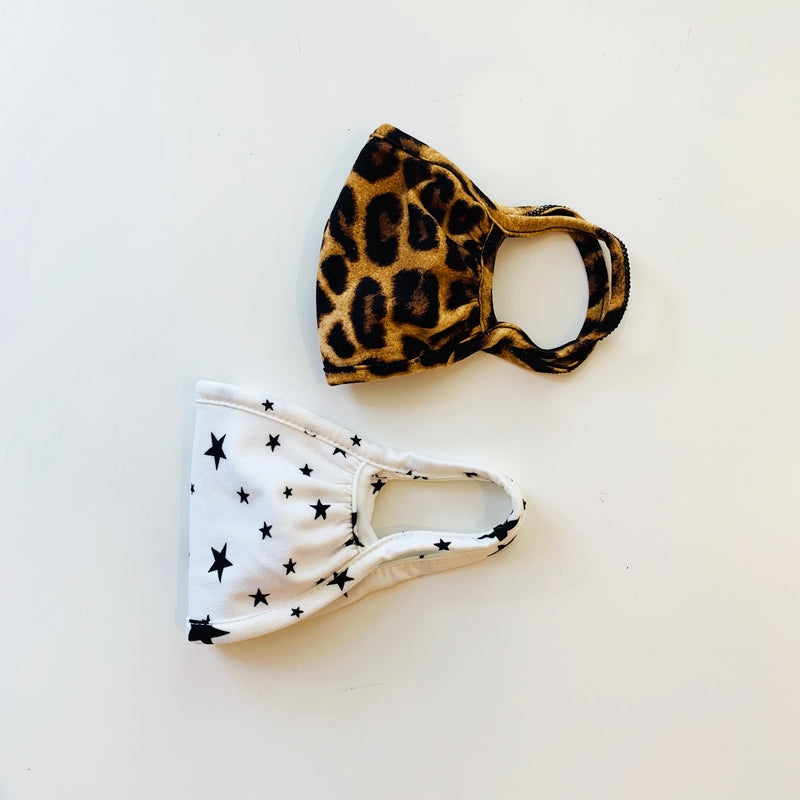 Kids (3-6yrs) Mask, Leopard/Stars, 2 pack