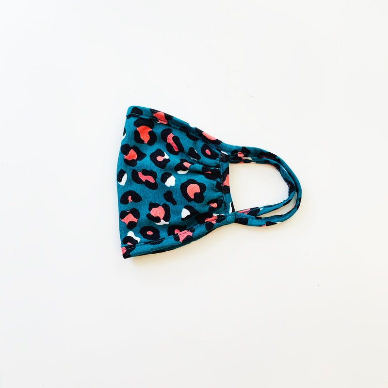Adult Mask, Leopard Teal