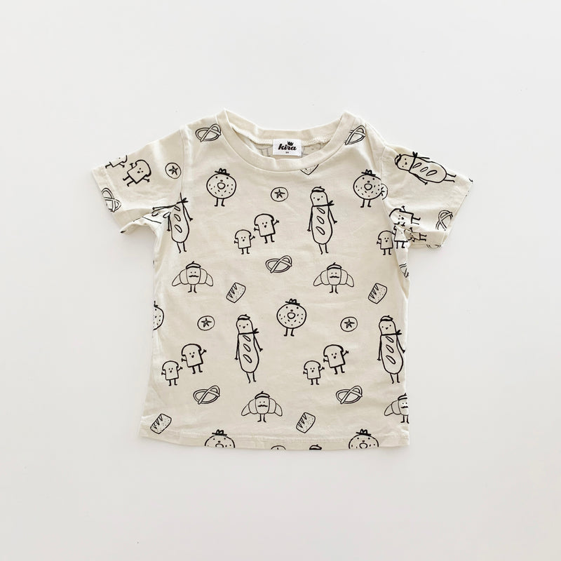 Bread Print Short Sleeve T-shirt, Natural