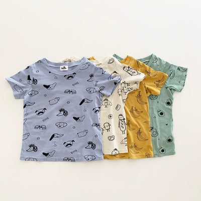 Puppy Print Short Sleeve T-shirt, Stone Blue