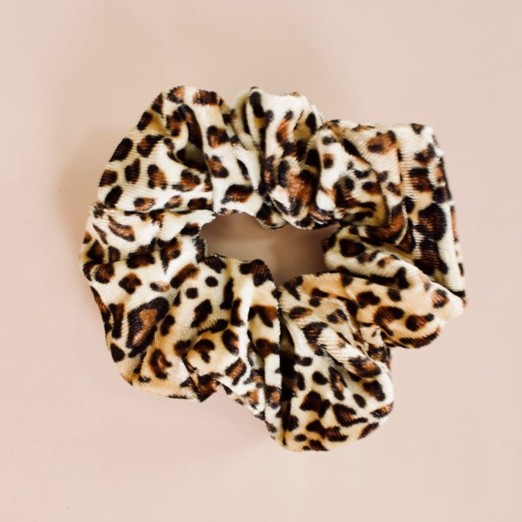 Katie Waltman Jewelry: Animal Print Velvet Scrunchie, Cheetah