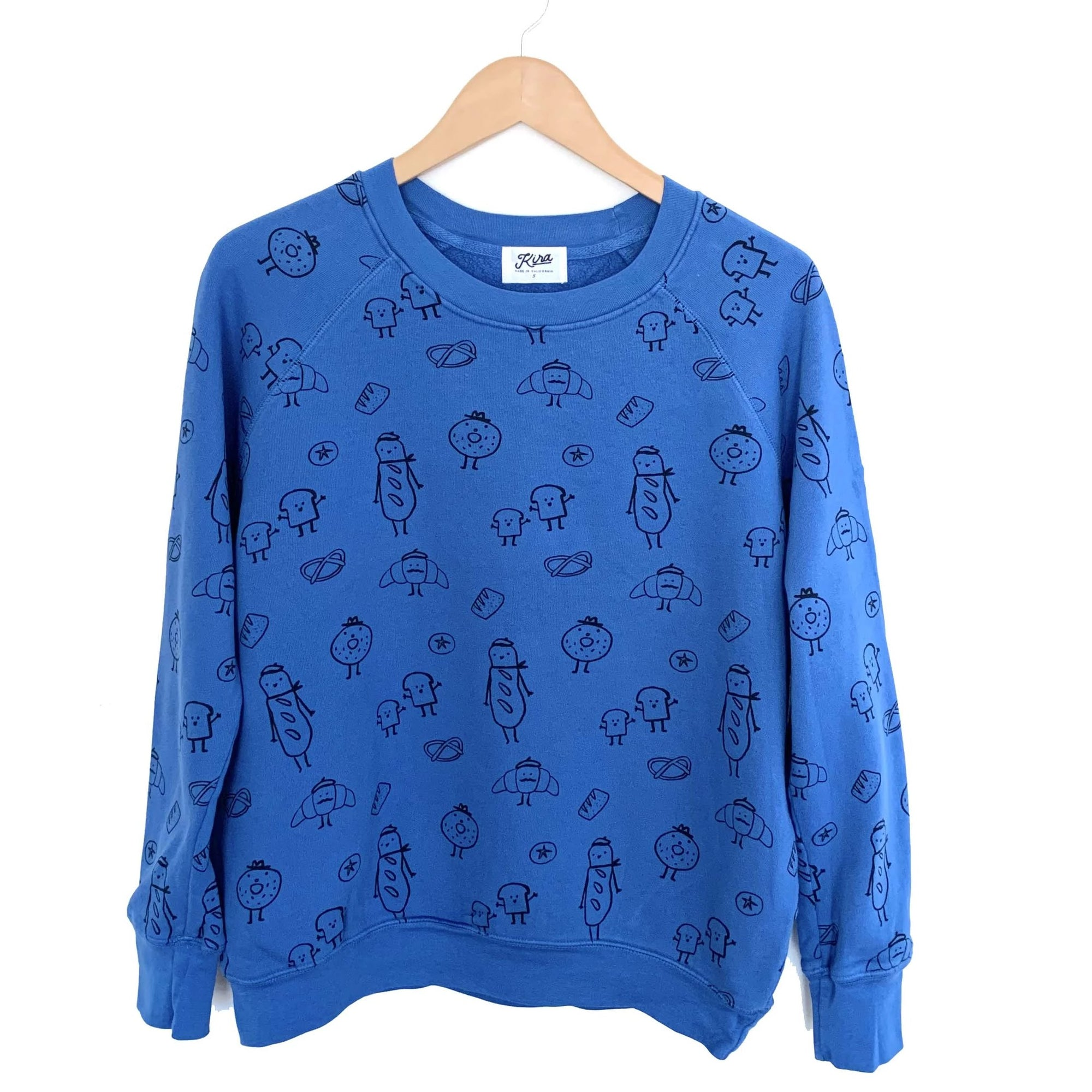 Bread Print Raglan Pullover, Steel Blue | Women