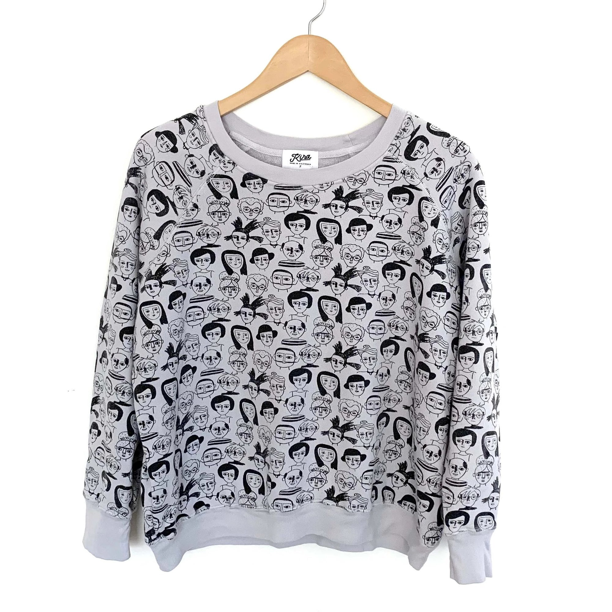 Artists Print Raglan Pullover, Light Grey | Women