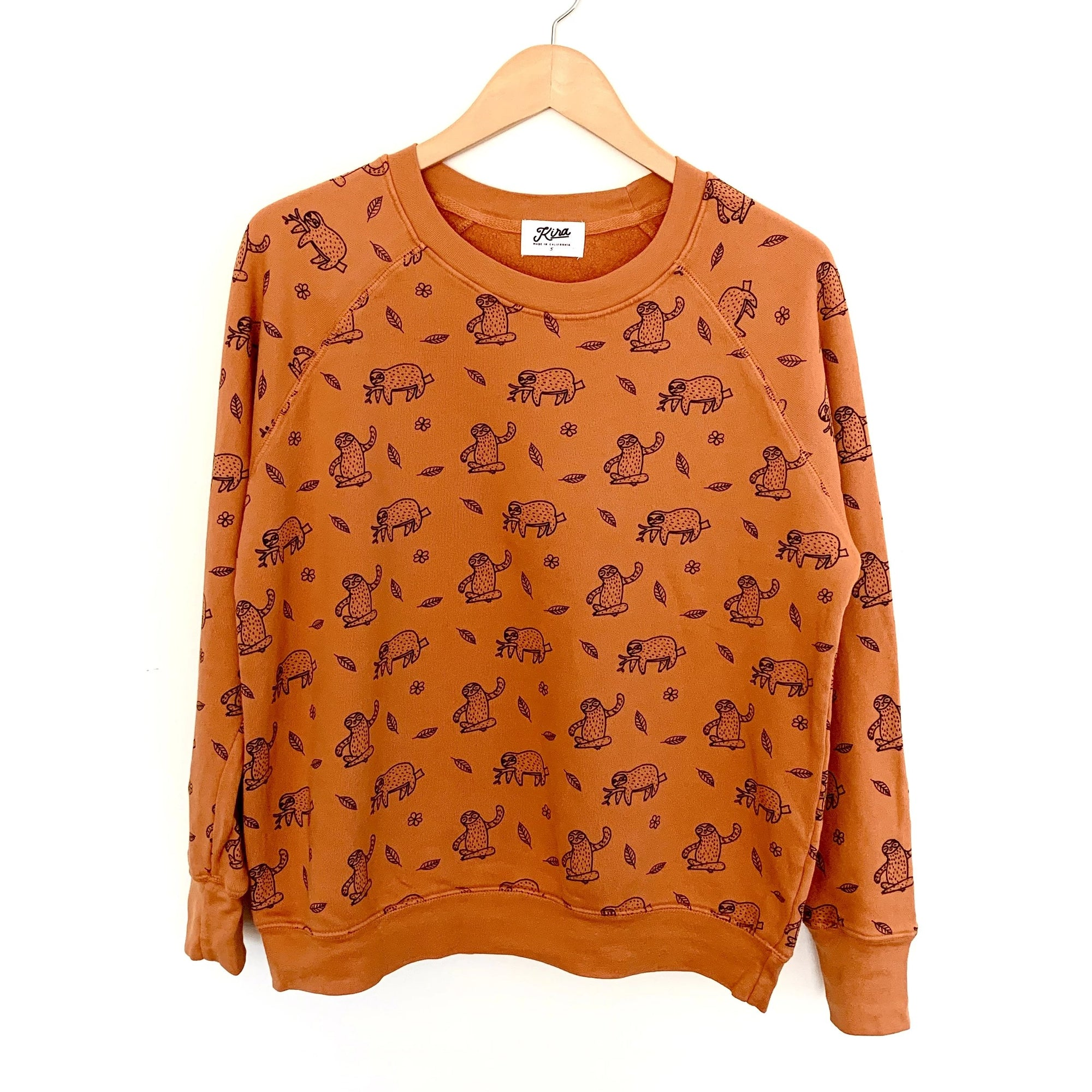 Sloth Print Raglan Pullover, Copper | Women