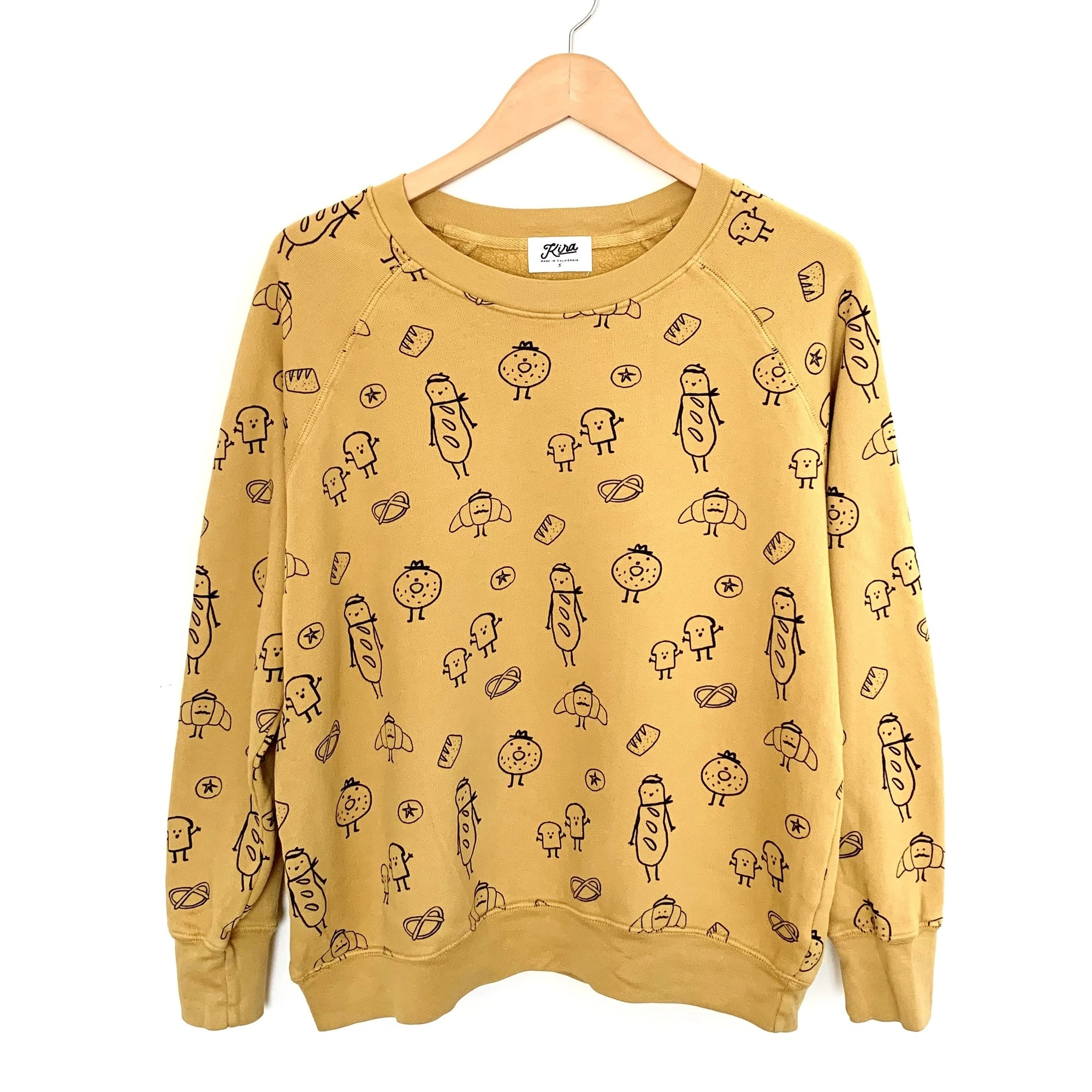 Bread Print Raglan Pullover, Golden | Women