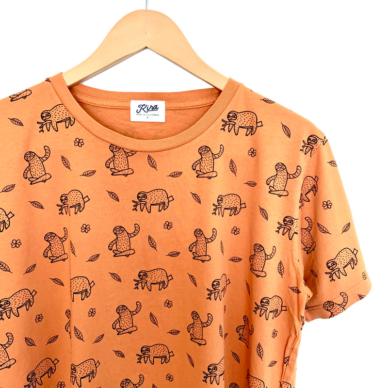 Sloth Print T-shirt, Copper | Adult Unisex