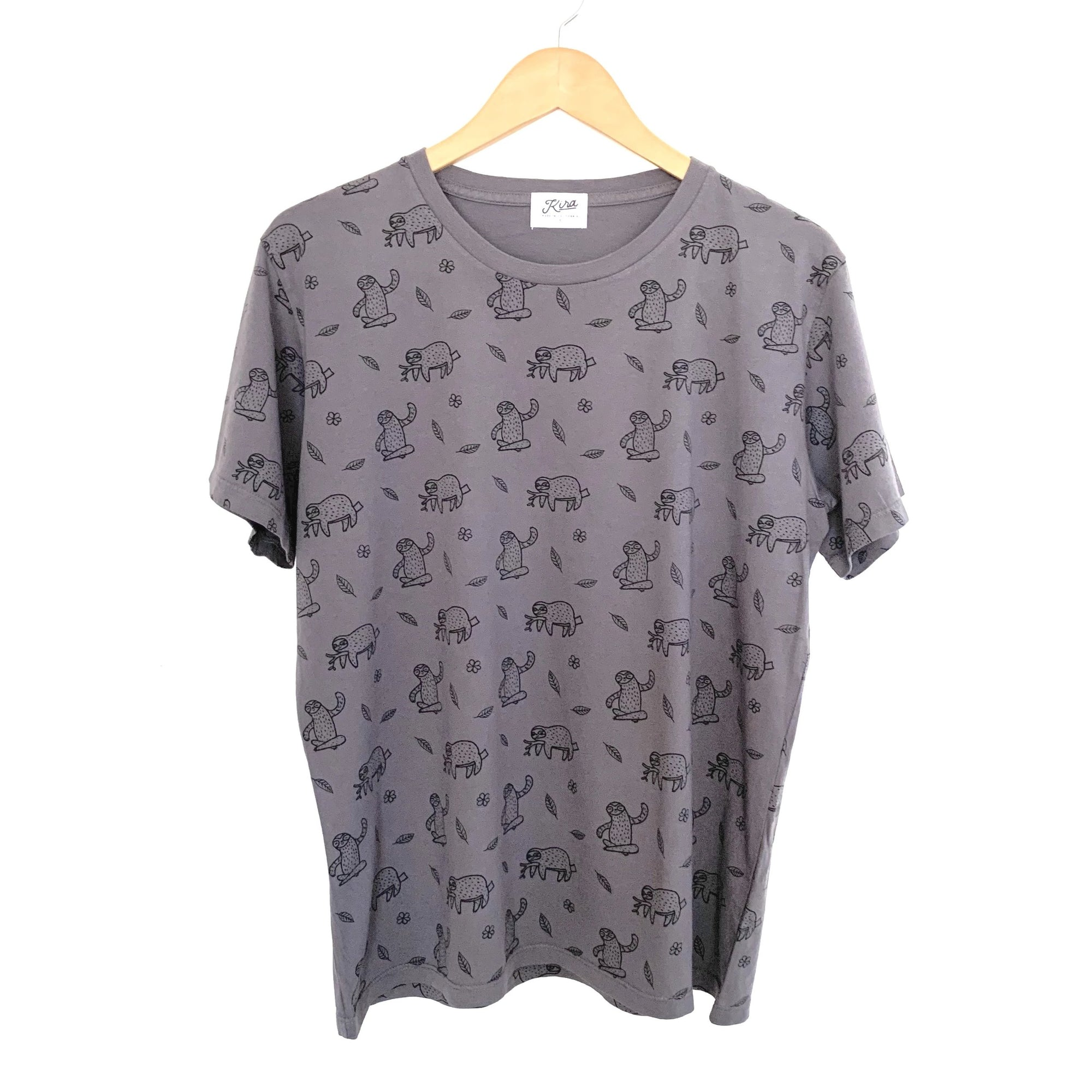 Sloth Print T-shirt, Slate | Adult Unisex
