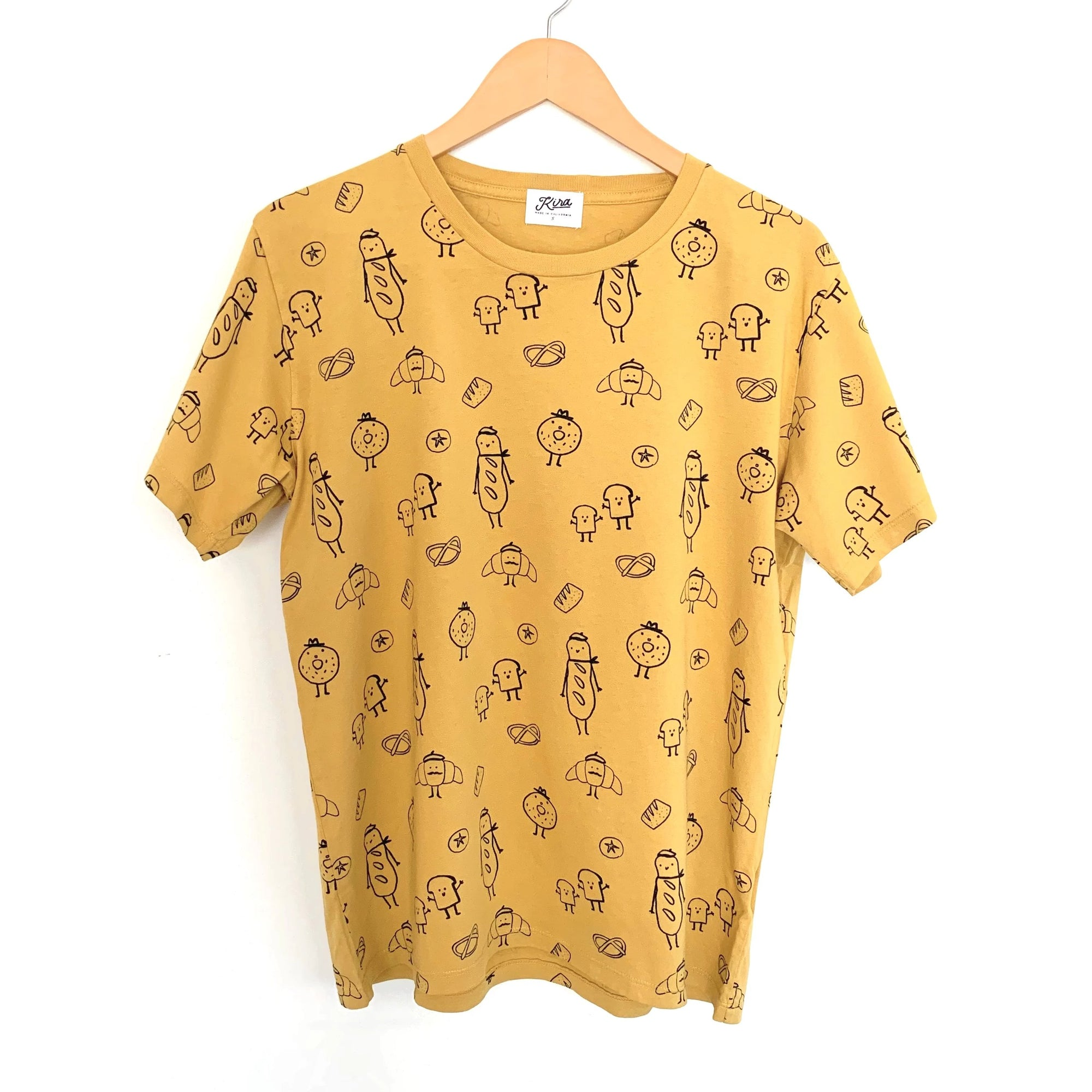 Bread Print T-shirt, Golden | Adult Unisex