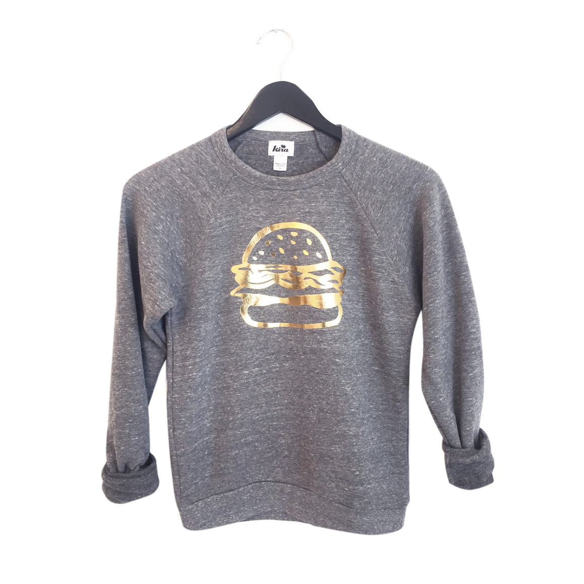 Adult Unisex Burger Graphic Raglan Sweatshirt, Warm Grey