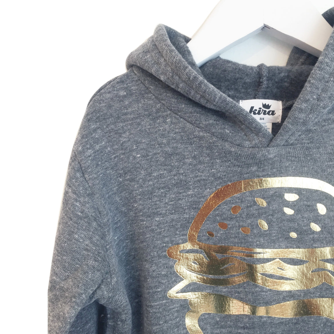 Burger Graphic Hooded Sweatshirt, Warm Grey