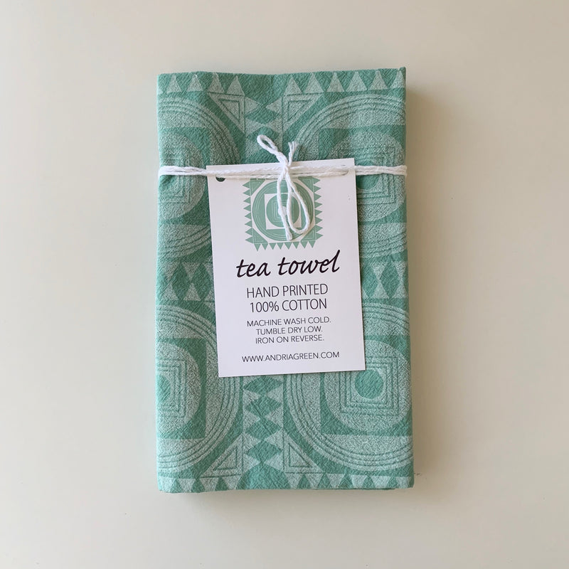 Andria Green: Moroccan Tile Tea Towel, Seafoam Green