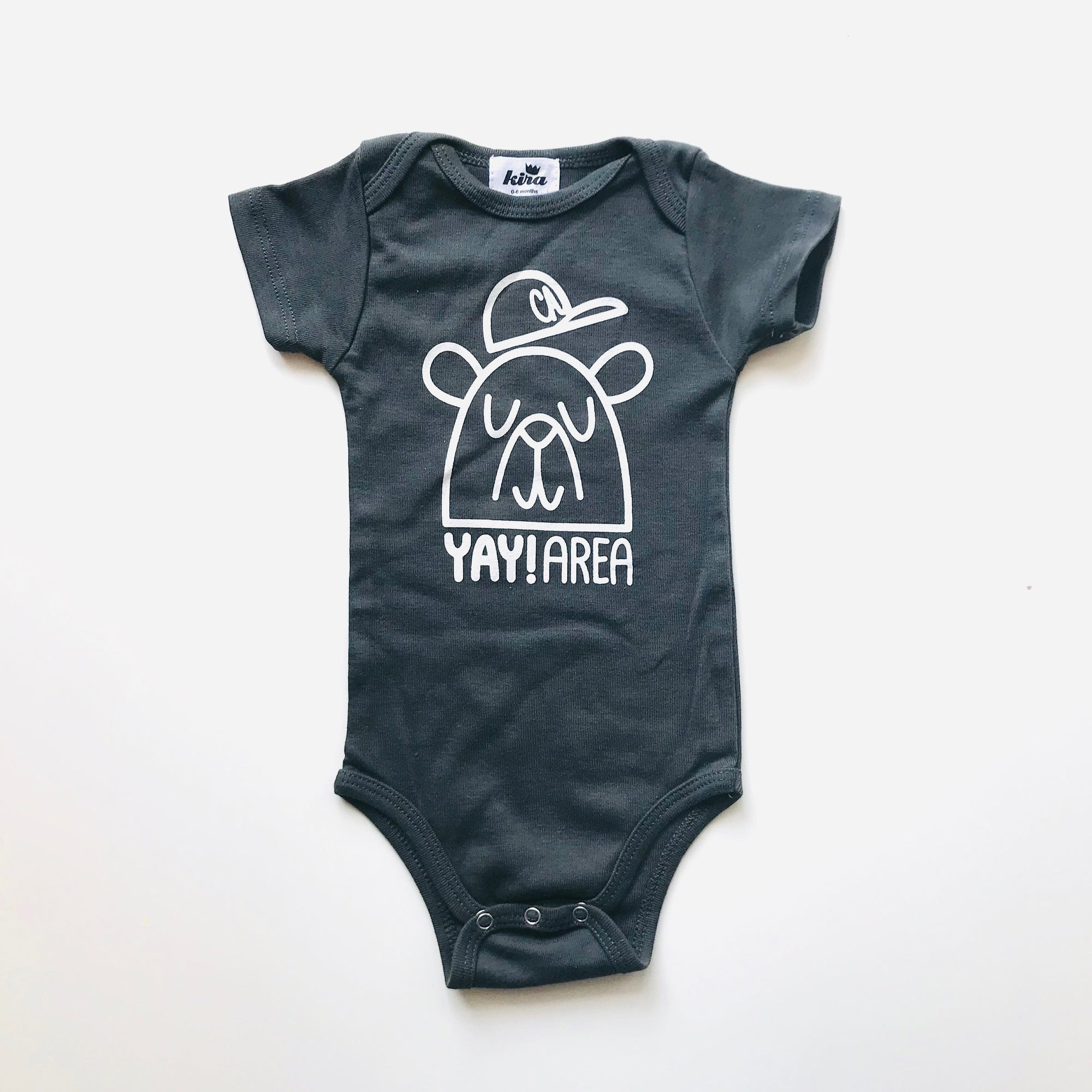 Yay Area Bear Short Sleeve Onesie, Slate Grey