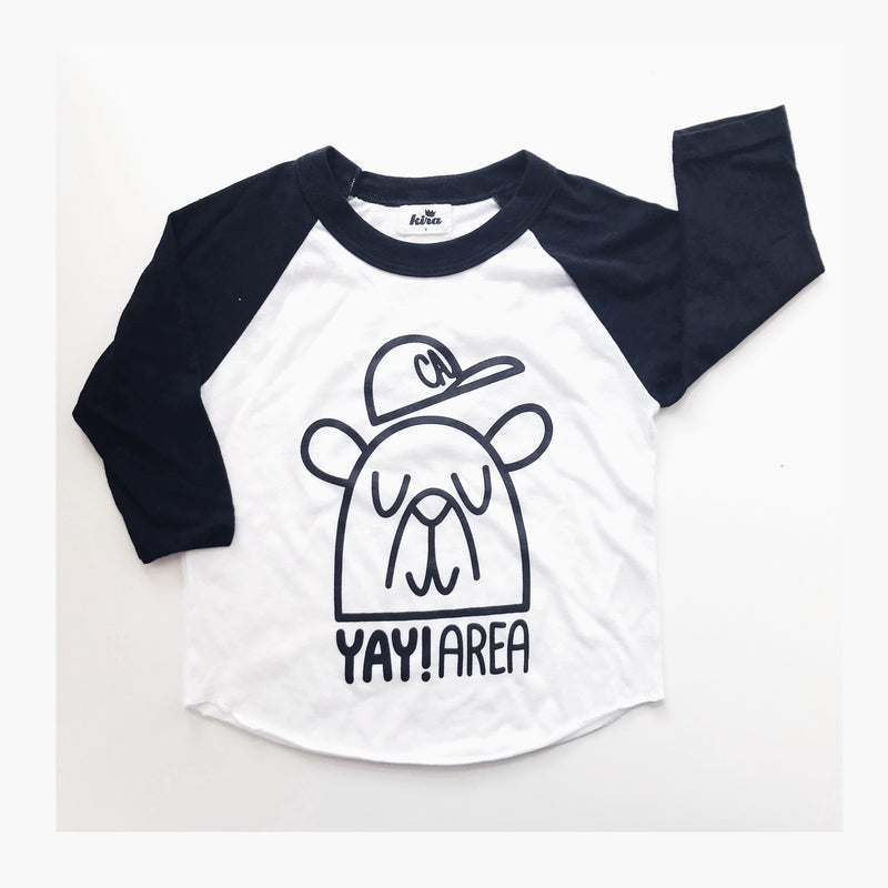 Yay Area Bear Raglan T-shirt, Black/White