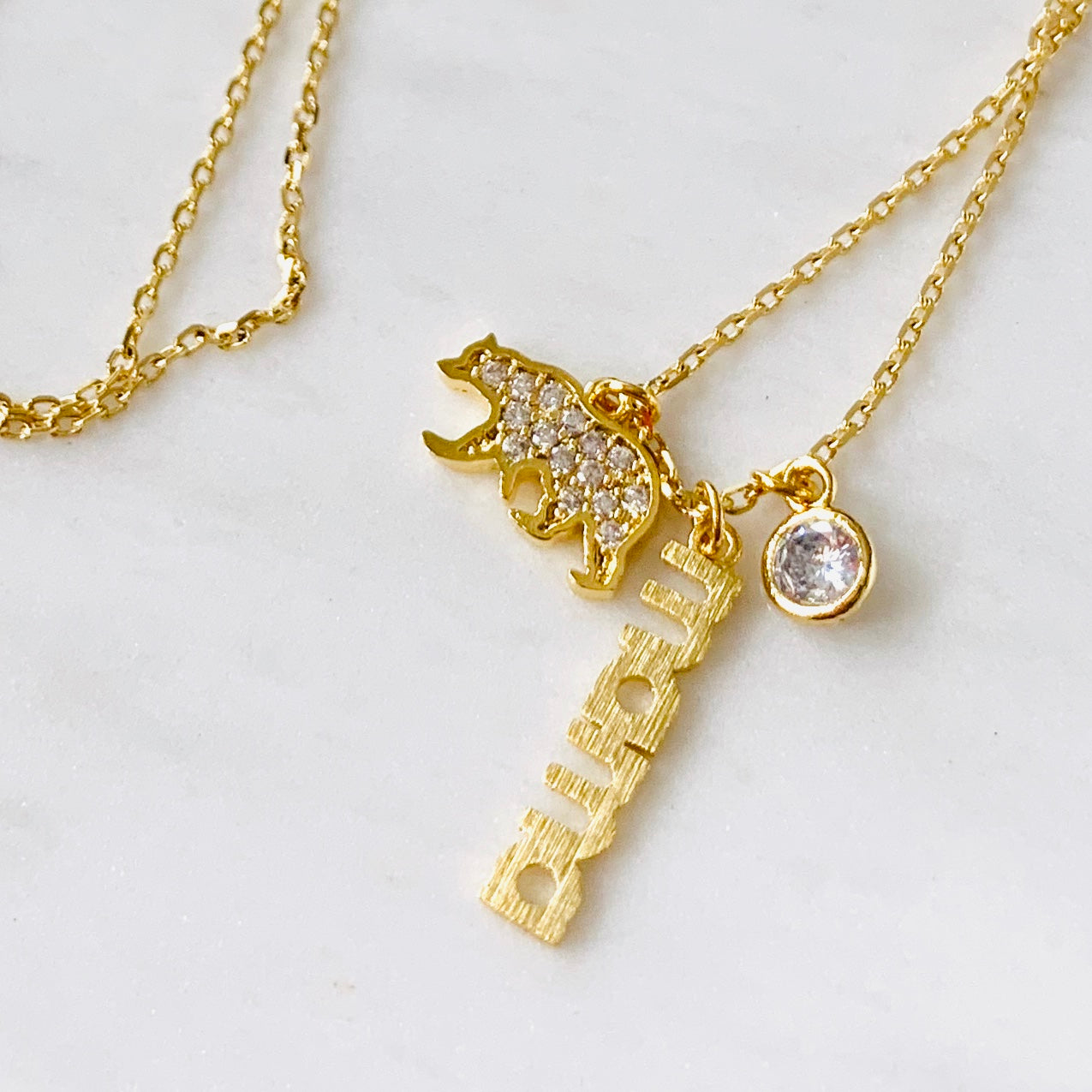 Mama Bear Triple Charm Necklace