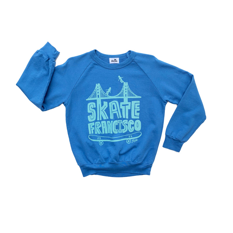 Skate Francisco Graphic Raglan Sweatshirt, Steel Blue
