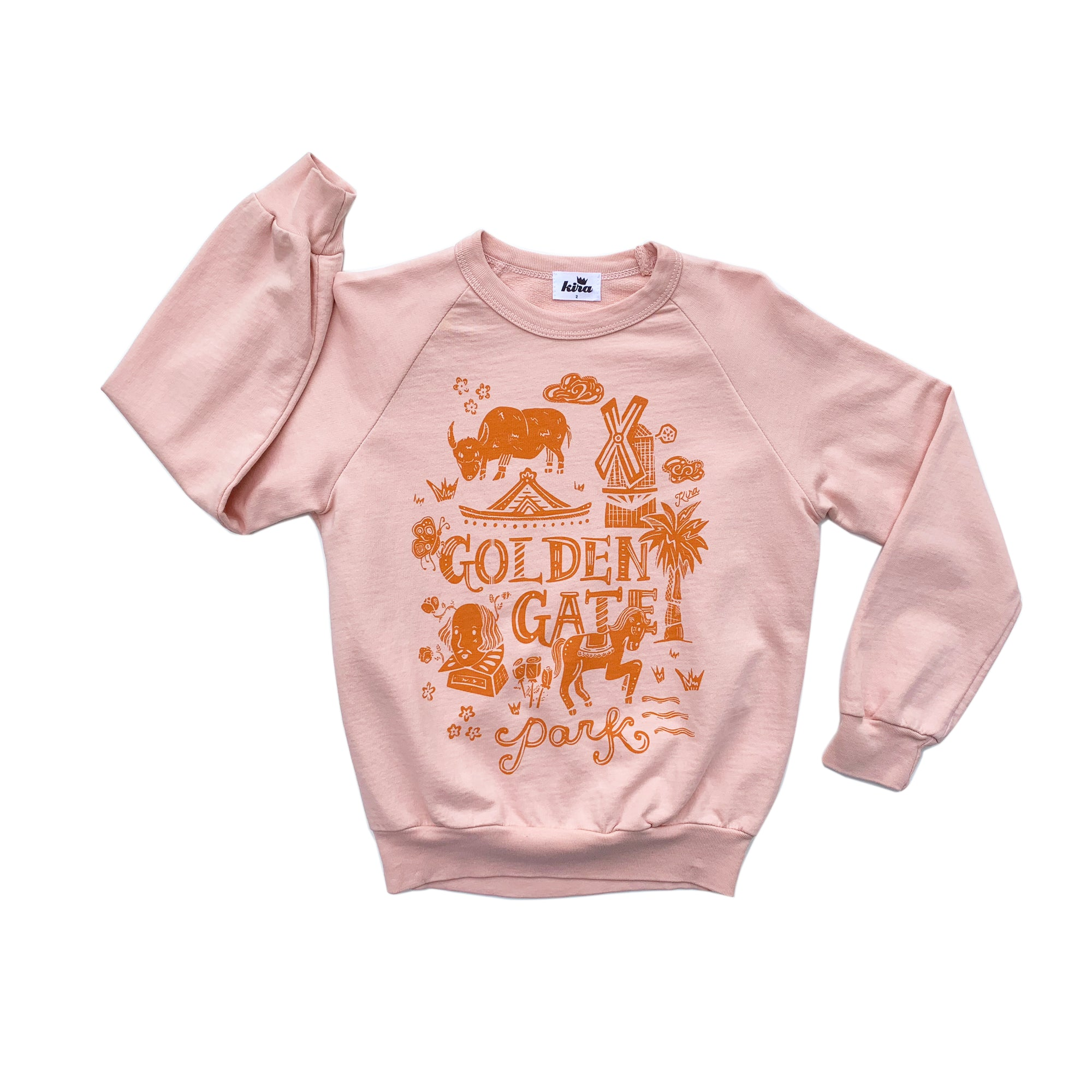 Golden Gate Park Graphic Raglan Sweatshirt, Blush
