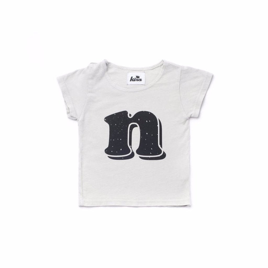 Alphabet T-shirt: N, Light Grey