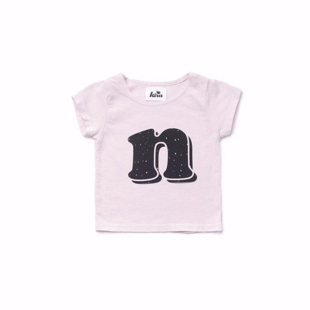 Alphabet T-shirt: N, Light Pink