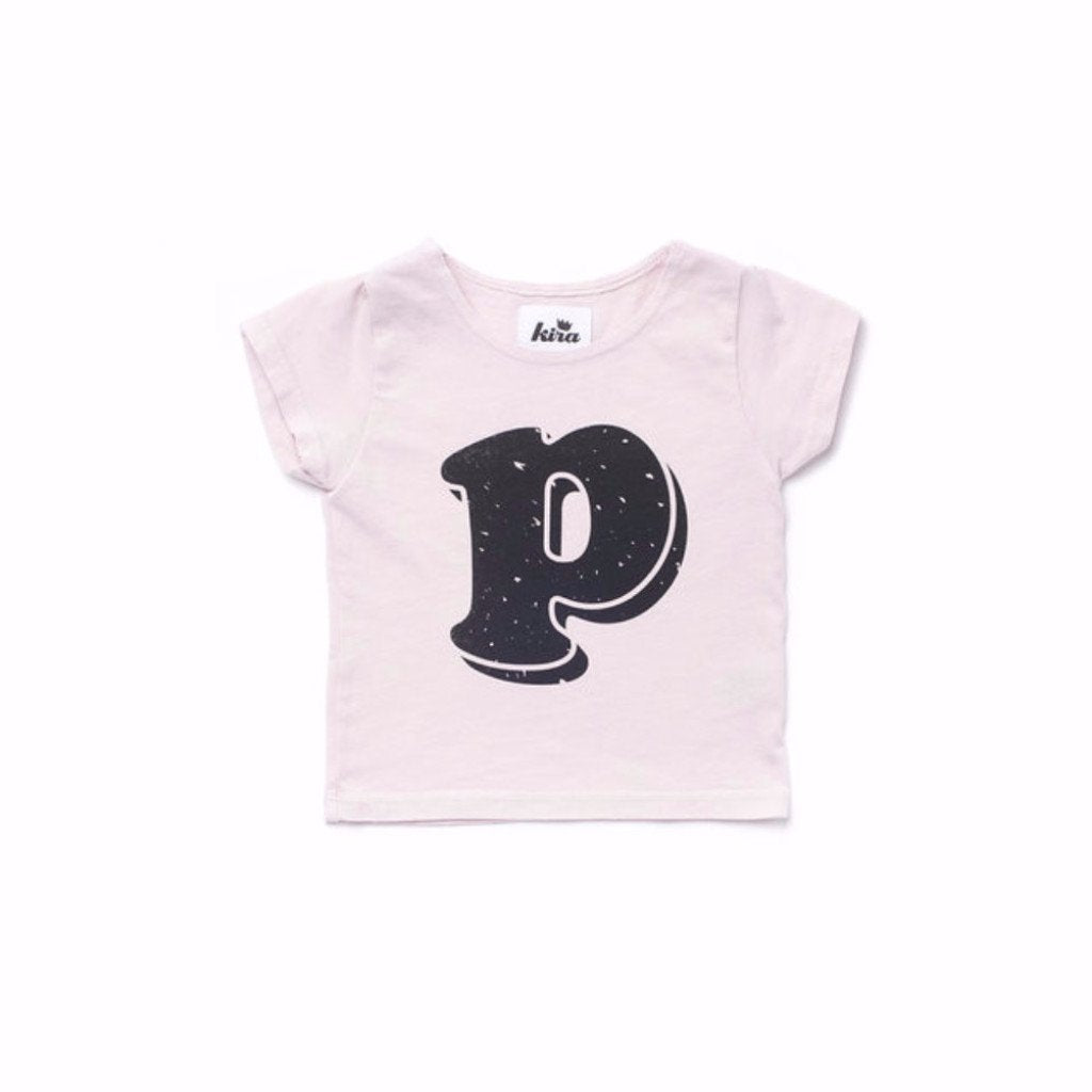 Alphabet T-shirt: P, Light Pink