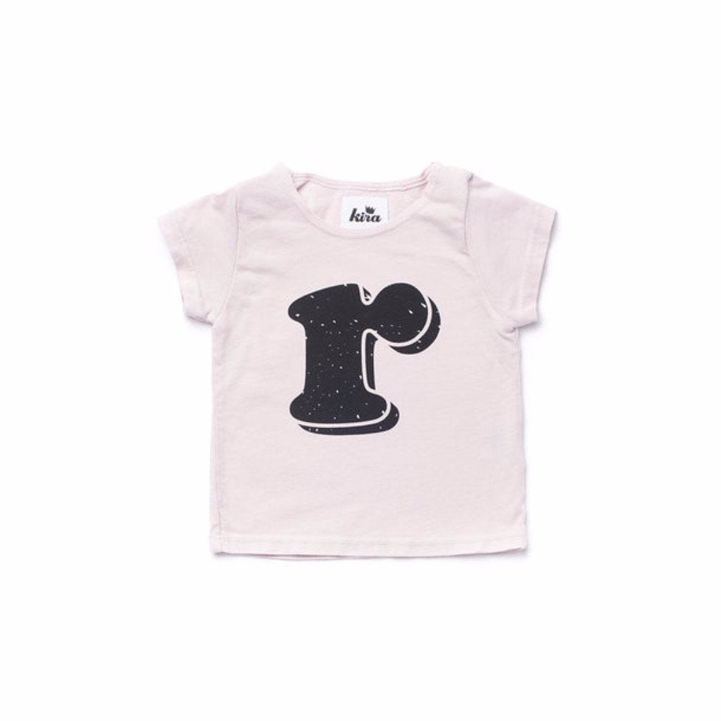 Alphabet T-shirt: R, Light Pink