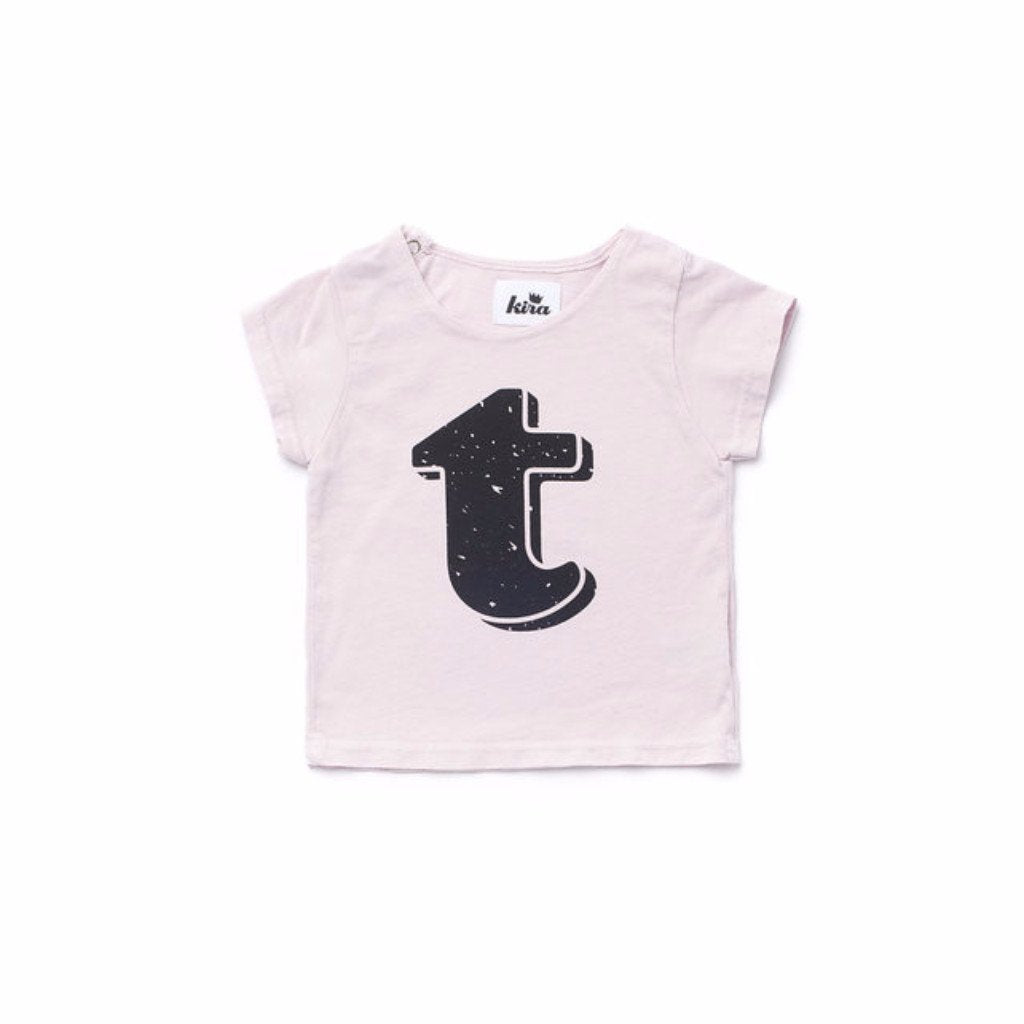 Alphabet T-shirt: T, Light Pink