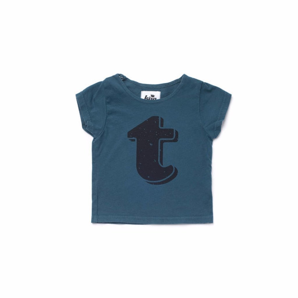 Alphabet T-shirt: T, Dark Teal