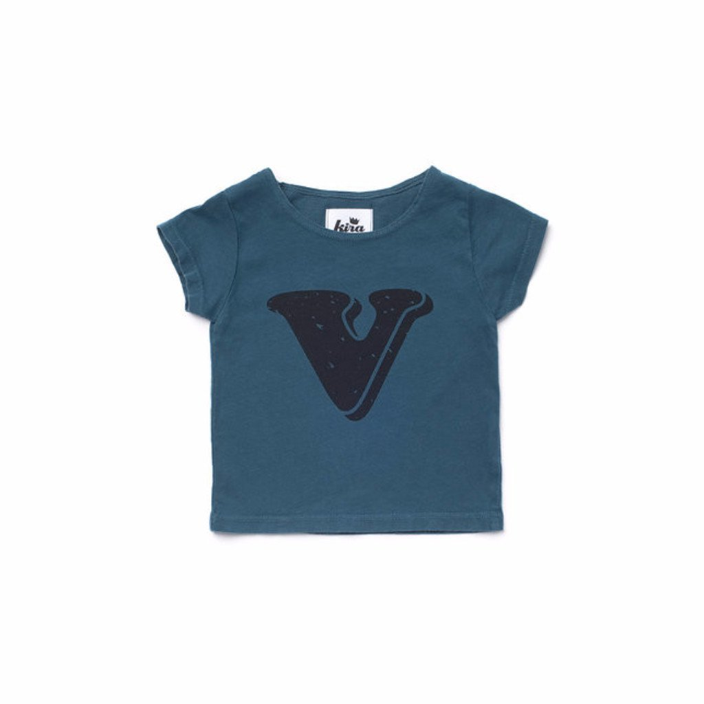 Alphabet T-shirt: V, Dark Teal