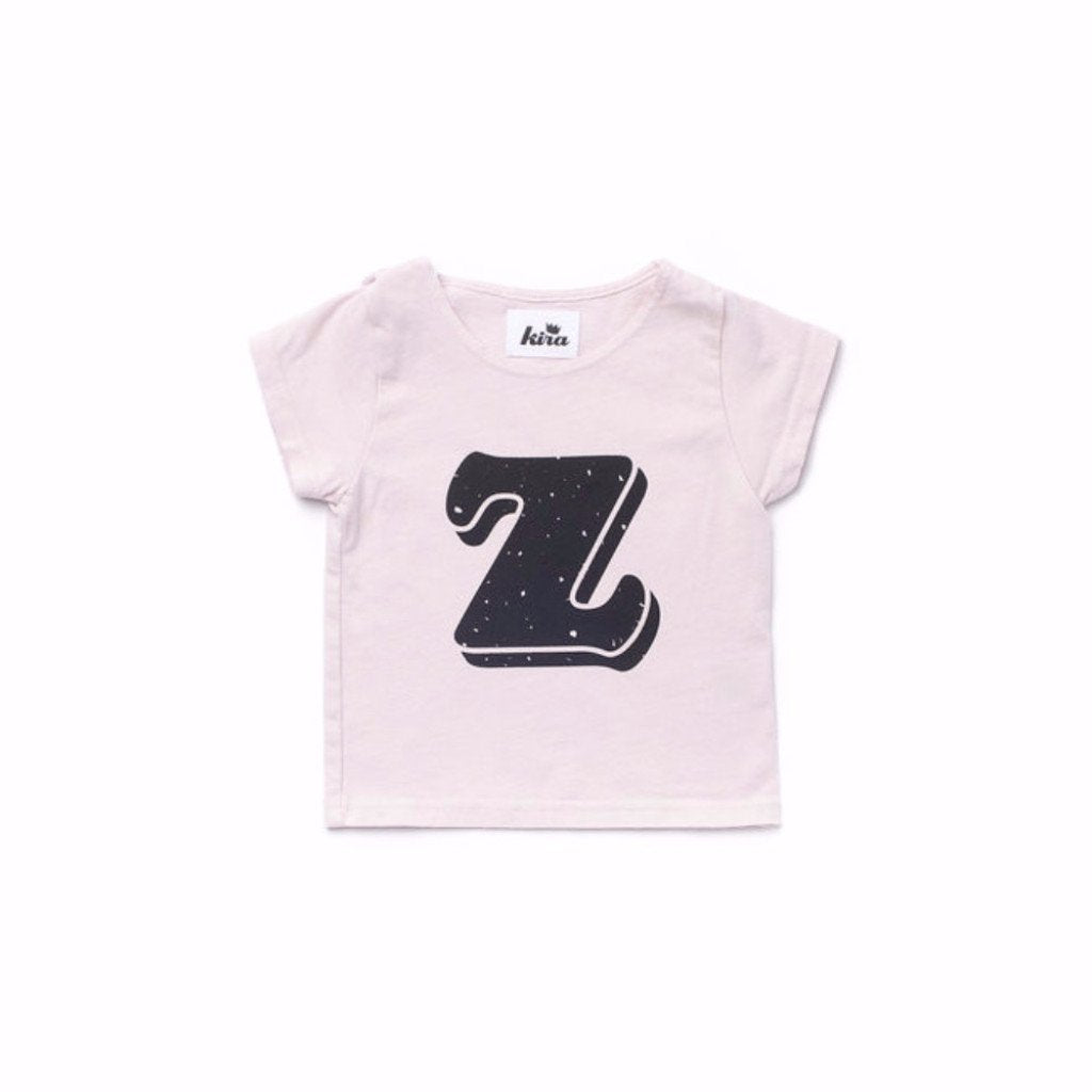 Alphabet T-shirt: Z, Light Pink