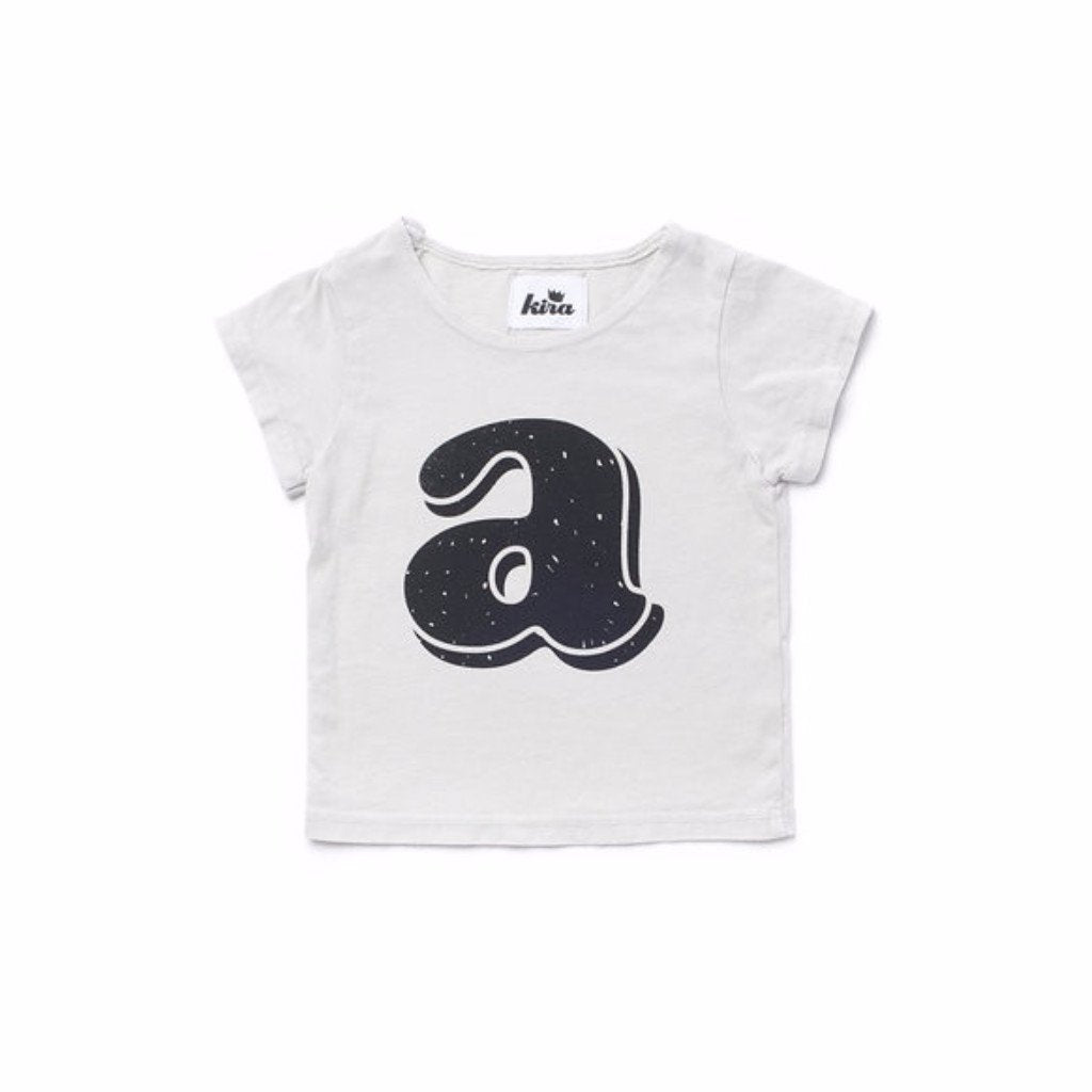 Alphabet T-shirt: A, Light Grey