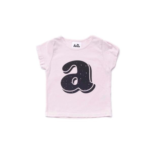 Alphabet T-shirt: A, Light Pink