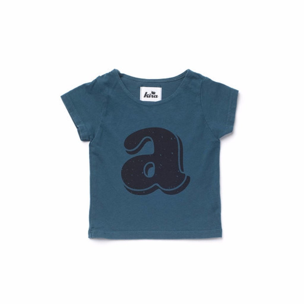 Alphabet T-shirt: A, Dark Teal