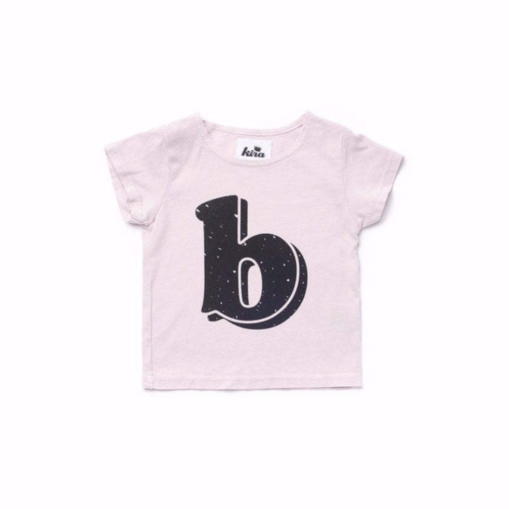 Alphabet T-shirt: B, Light Pink