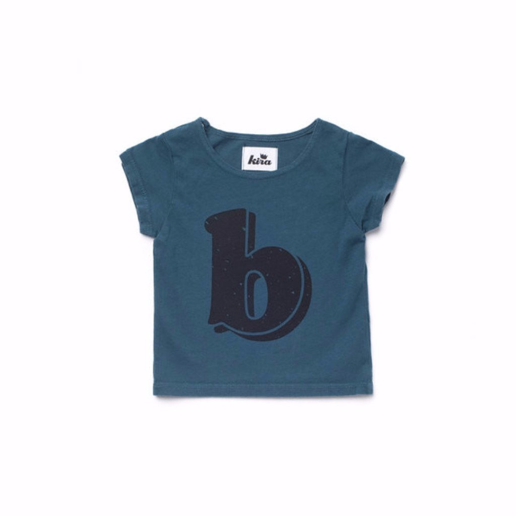 Alphabet T-shirt: B, Dark Teal
