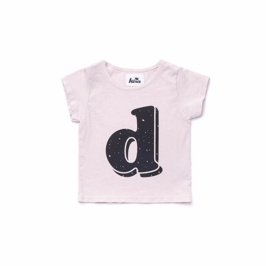 Alphabet T-shirt: D, Light Pink
