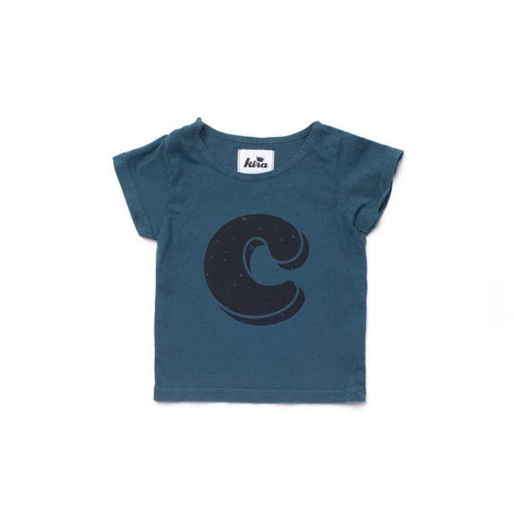 Alphabet T-shirt: C, Dark Teal
