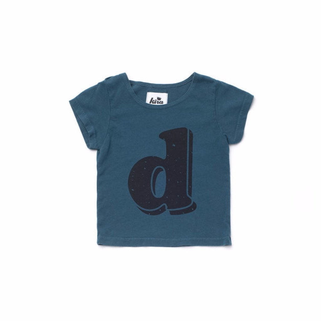 Alphabet T-shirt: D, Dark Teal