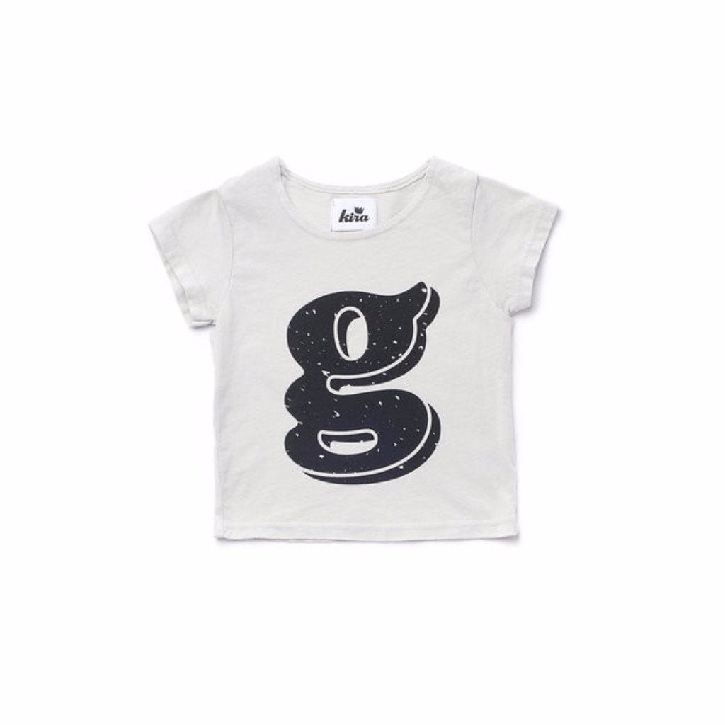 Alphabet T-shirt: G, Light Grey