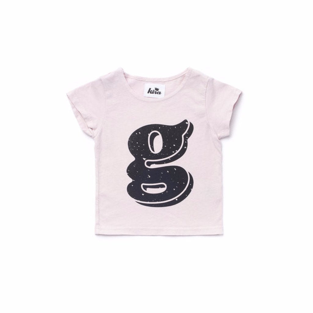 Alphabet T-shirt: G, Light Pink